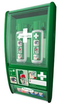 Station de douche oculaire avec 2 flacons et distributeur de pansements - REf 7209